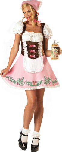 [InCharacter Costumes, LLC Women's Fetching Fraulein Costume, Pink/White/Brown, Medium] (Dirndl Costume)