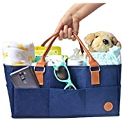 NEW Baby Diaper Caddy by Hibiscus & Co.   Nursery Organizer   Large Portable Car Travel Tote Bag   Storage Bin for Diaper Changing Table  Newborn Essentials   Girl Boy Baby Shower Registry Gift Basket