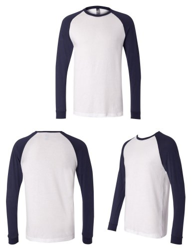 Bella + Canvas Men'S Jersey Long Sleeve Baseball Tee (White_Navy) (S) (Jersey Baseball Belle)