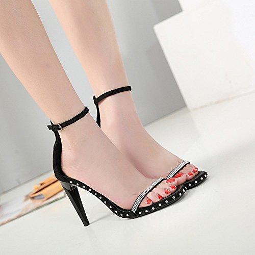 trentotto trentotto donne sandali black tacchi sandali NHGY esercitazione special acqua shaped strisce semplici RFP7P