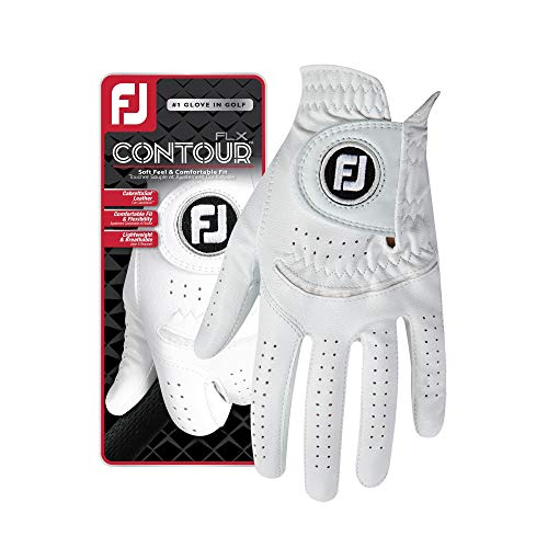 FootJoy Men's Contour FLX Golf Glove Pearl Large, Worn on Left Hand