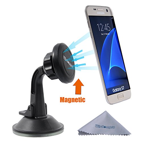 Car Mount Holder, Wisdompro Universal Magnetic Windshield Dashboard Car Mount Cell Phone Holder for iPhone 7 Plus, 7, 6s Plus, 6, 5s, 5c, SE, Samsung Galaxy S7 Edge, S8 S7 S6 S5,Note 5