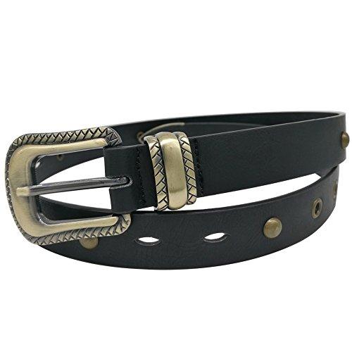 Tanpie Women's Leatherette Retro Ranger Belt with Antique Brass Engraved Rope Edge Bronze Buckle 100cm(M:29.5-33.5 inch)