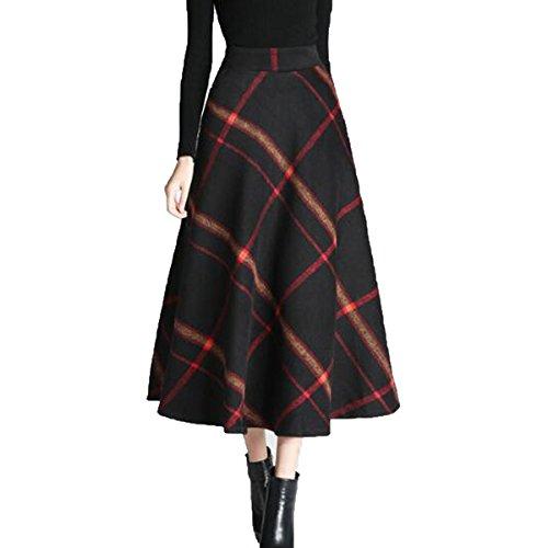 Femmes Lattice Hiver Laine Longue Jupe Vintage Taille Haute Swing Jupe vase Multicolore Red1