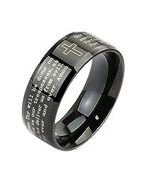 Cross Lord's Prayer Beveled Edge Stainless Steel Black IP Band Ring R641