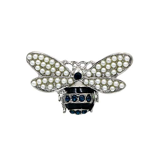 DARLING HER Red Crystal and Enameled Bee Brooch Pins with Simulated Pearl Wings Blue