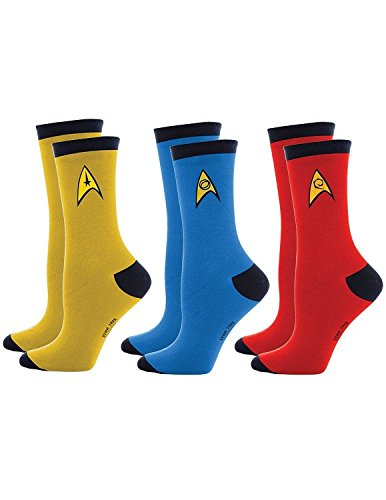 Original Trek Star Uniform (Star Trek Uniform Socks -- Command - Science - Engineering -- Set Of 3 Pairs, Assorted Colors, Men's)
