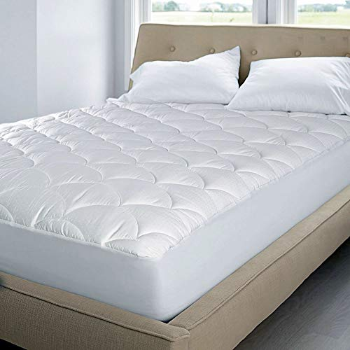 Blue Ridge Home Fashion 350 Thread Count Cotton Damask Dual Action Mattress Pad, Queen, White