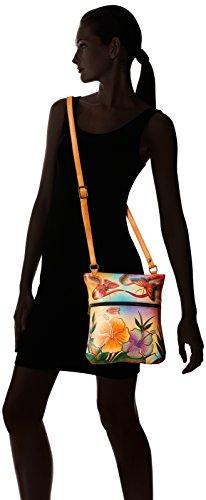 Hibiscus Leather Bag Shoulder Slim DPF Antique 8071 Cross Handpainted Anuschka Cv4Bz