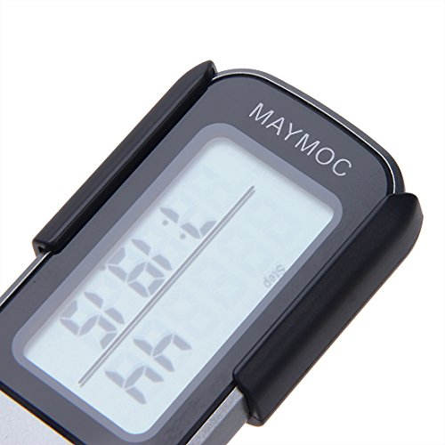 Maymoc 3D Pedometer and Step Tracker for Walking Steps Miles / Km Accurate Portable Clip on Sports Fitness Daily Target Monitor Exercise Distance Calories Counter with Lanyard and 30 Days Memory