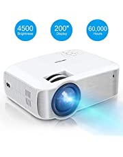 """TOPVISION Mini Projector 4500 Lumens Support 1080P Full HD, Max 200"""" Display and 60000 Hours LED Life Portable Projector, Compatible with PS4/HDMI/VGA/AV/USB for Home Cinema, Party and Games"""