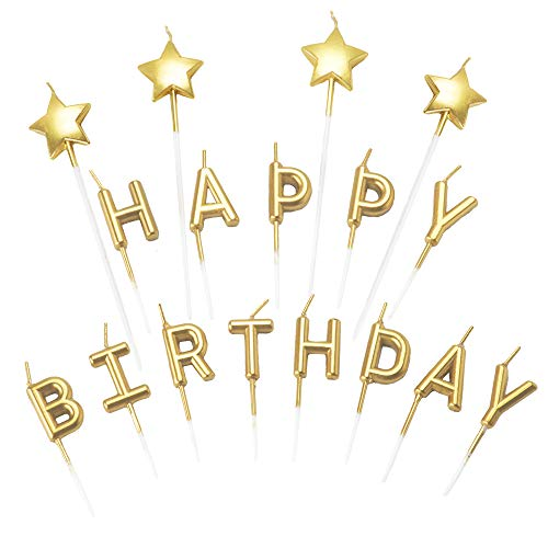 Aplusplanet Gold Happy Birthday Candles, Glitter Birthday Letter