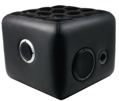 Sound Cube 2.1-Kanal Bluetooth Moderner Hocker mit integriertem Subwoofer und Stereo-Lautsprecher, Lautstärkeregler, Bass- und Audioanschluss (schwarz)