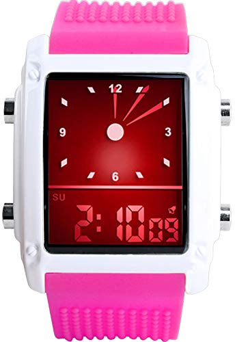 (Men's Rectangle Dial Sports Wrist Watches with 7 Colors Optional LED Backlight Multifunctional Alarm Stopwatch 12/24H Rubber Strap Watch (Shocking Pink))