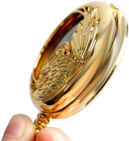 Pendentif mécanique Automatique d\'or élégant Noble Phoenix Steampunk Necklace Elegant Self Winding Vintage Pocket Watch