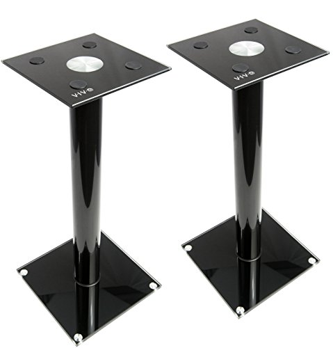 VIVO Premium Universal Floor Speaker Stands for Surround Sound & Book Shelf Speakers (Short Entertainment Stand)