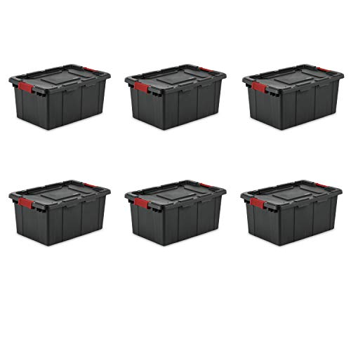 (Sterilite 14649006 15 Gallon/57 Liter Industrial Tote, Black Lid & Base w/ Racer Red Latches, 6-Pack)