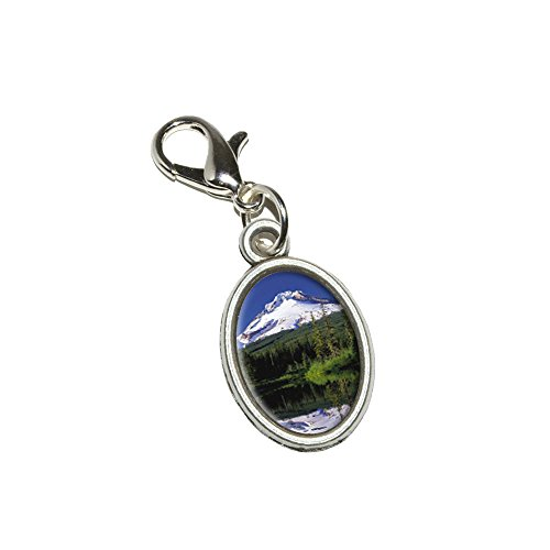 Graphics and More Mount Hood Oregon Pacific Northwest Snow Covered Mountain Antiqued Bracelet Pendant Zipper Pull Oval Charm with Lobster Clasp (Mount Hood Oregon)