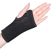 Wrist Brace, Wrist Splint Support Wrist Palm Protector with Metal Splint Stabilizer and Elastic Edged Thumb Hole for Carpal Tunnel, Tendonitis, Sports Injuries Pain Relief (Left Hand)