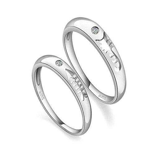 Gnzoe Women Wedding Ring Band Fish Bone CZ Rings Silver 3mm/3.5mm (Price One Pc)