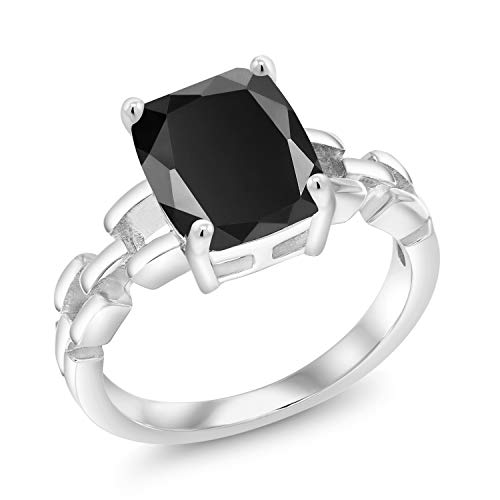 Gem Stone King 2.73 Ct Cushion Solitaire Black Onyx 925 Sterling Silver Link Style Ring Available in size 5, 6, 7, 8, 9