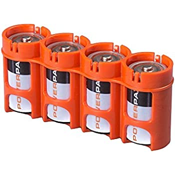 Storacell by Powerpax SlimLine C Battery Caddy, Orange, Holds 4 Batteries