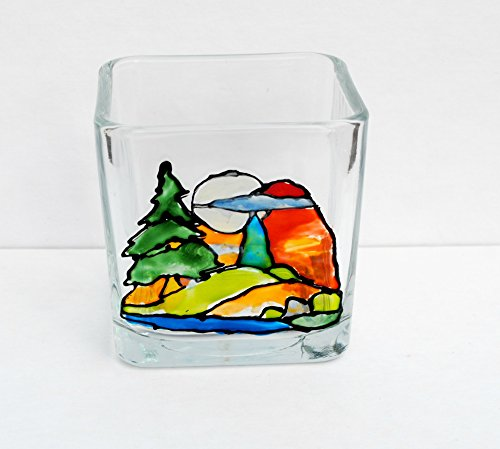 Mountain Lake Landscape Scene Hand Painted Stained Glass Square Candle Holder, Home Decor (Glass Mountains Stained)