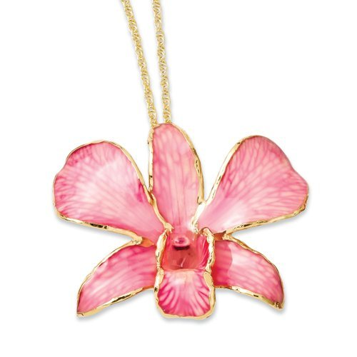 Roses and Leaves Lacquer Dipped Gold Trimmed Pink Dendrobium Orchid (Dendrobium Orchid Pin)