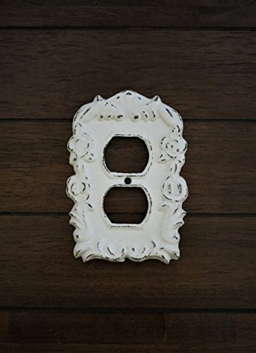 Electric Outlet Plug-In Cover Hand Painted Cast Iron Antique White Distressed Cottage (Antique Outlet Covers)