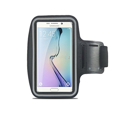 Armband With Sweat Resistant ,HAPPYMALL(TM)Extreme Sports Exercise Stretchy Running Sport Jogging Armband Case Arm Band Cover For Samsung Galaxy S6/ S6 Edge And HTC M9 (Black)