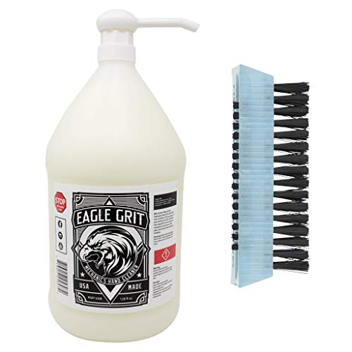 Eagle Grit Heavy Duty Industrial Hand Cleaner for Auto Grease, Dirt, Oil, Paint - Eco-Friendly Moisturizing Silica Formula - Includes Scrubbing Hand and Fingernail Brush (1 Gallon Hand Pump Jug) ()
