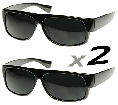 SunglassUP Classic Old School Eazy E Square Flat Top OG Loc Sunglasses (2-Pack - Sunglasses Eazy Locs E