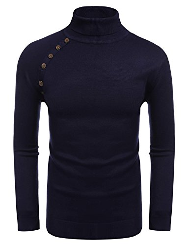 Coofandy Men's Slim Fit Ribbed Kitted Turtleneck Pullover Thermal Sweaters