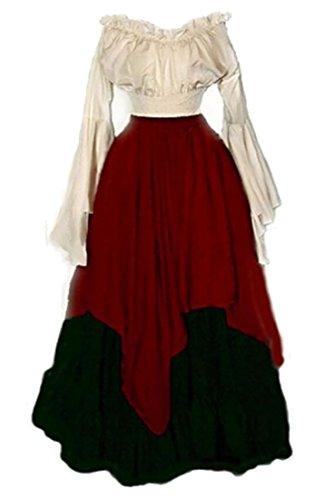 Alion Women Renaissance Medieval Irish Costume Over Dress Medieval Dress Renaissance Gothic Dress Red (Irish Costume)