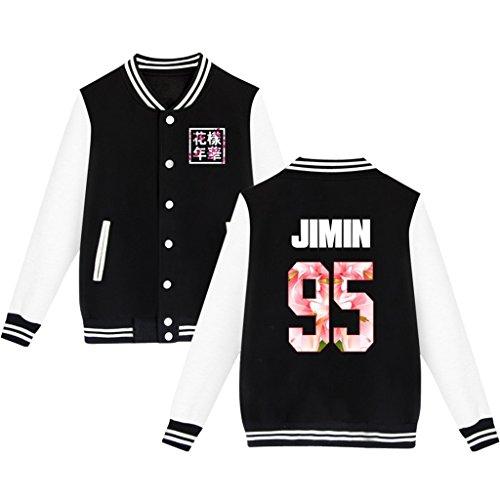 BTS Baseball Jacket Uniform Bangtan Boys Suga Jin Jimin Jung Kook Sweater Coat XL Black JIMIN