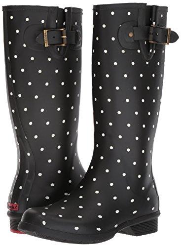 Chooka Women's Tall Memory Foam Rain Boot, Dot Blanc Black, 10 M US