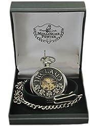 Mullingar Pewter Open Face Pocket Watch With Shamrock & Ireland Design