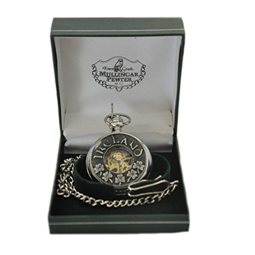Mullingar Pewter Open Face Pocket Watch With Shamrock & Ireland (Celtic Design Watch)
