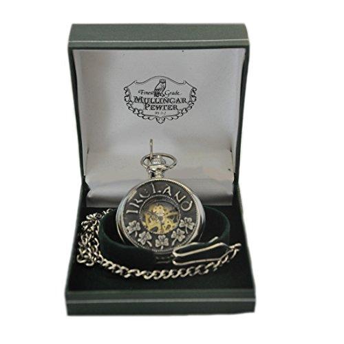 - Mullingar Pewter Open Face Pocket Watch with Shamrock & Ireland Design