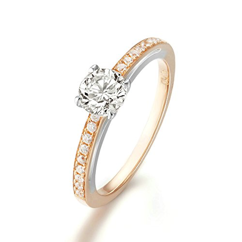 18K Rose Gold(Au750) 0.3CT Diamond(SI, D-E) Women Wedding Ring White Gold