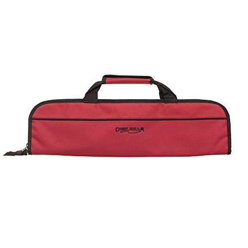 5 Pocket Padded Chef Knife Case Roll with 5 pc. Edge Guards (Red 5 Pocket bag w/5pc. Black Edge guards) by Ergo Chef (Image #1)