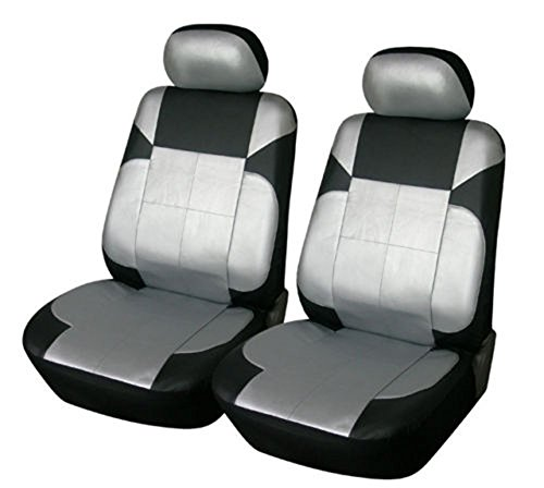 OPT Brand. Vinyl Leather 4PC SET Toyota Corolla Prius Highlander Camry 4Runner Land Cruiser Avalon Yaris RAV4 Prius C V 2 Front Car Auto Seat Covers, Silver/Black Silver Color. 77153-SIL/BK