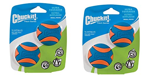 Chuckit! Ultra Squeaker Dog Ball High Bounce Blue/Orange 3 Sizes, 2 Pack