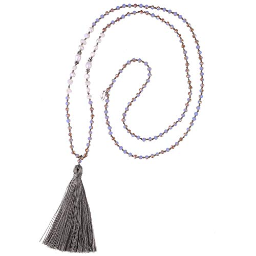 KELITCH Long Tassel Necklace Handmade Shell Pearl Crystal Beads Necklace for Women, Light Green