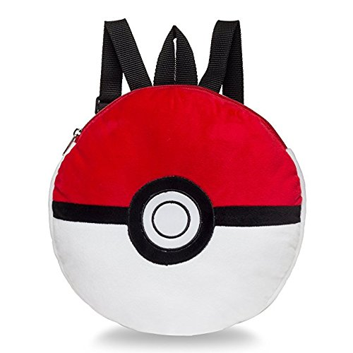 Pokemon Boys' Pokeball Plush Backpack, Red/white -