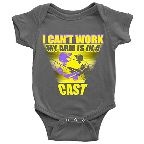 My Arm is in A Cast Baby Bodysuit, I Can't Work Cute Baby Bodysuit (6M, Baby Bodysuit - Dark -