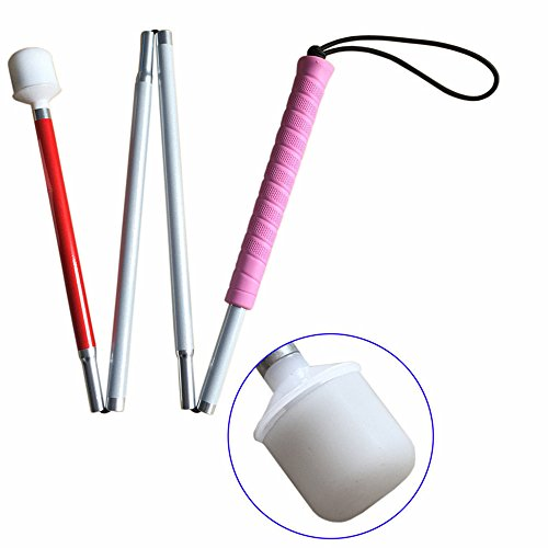 Aluminum Mobility Folding Cane for the Blind (Folds Down 4 Sections) White Cane for Children, Pink Handle