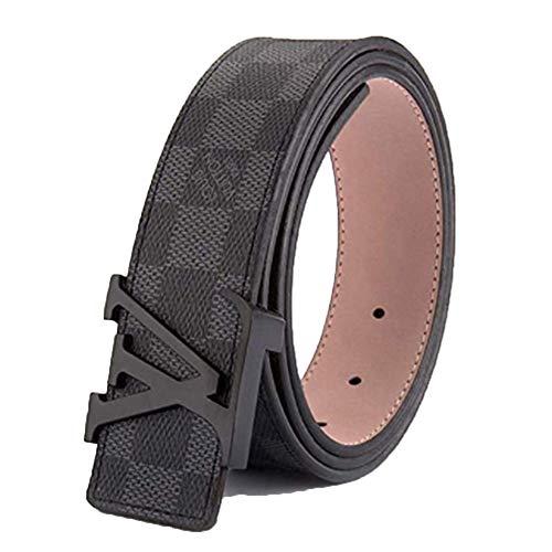 (Men's fashion black plaid wild belt (30