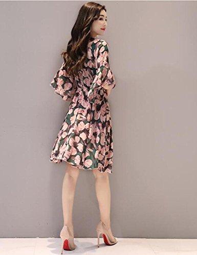 Wort Trompete Sommer Blumenkleid MoMo Ausschnitt dünn Blume Grüne Taille Ärmel Ein War Lang V fppvnxZ