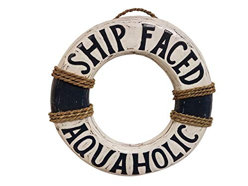 10 x 10 HANDCARVED & PAINTED WOOD DISTRESSED LOOK BLUE SHIP FACED AQUAHOLIC BEACH DECOR LIFE RING SIGN!